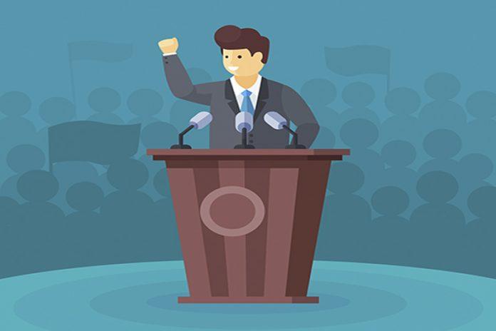 Desenho de um político, no púlpito, fazendo um discurso. Ele explica como vai ser a sua política no dia a dia.