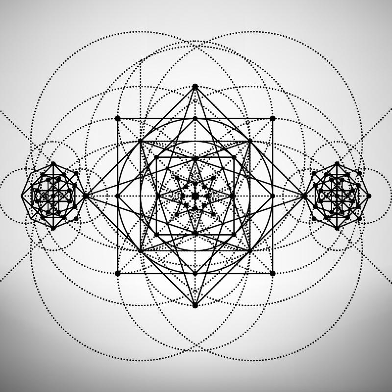 Gráfico de Geometria Sagrada, que hoje é usada na mesa quântica estelar.